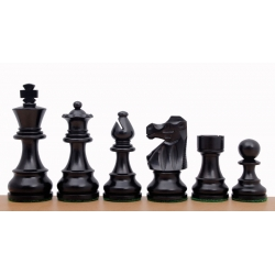 "French Staunton Ebonised 3"" chess pieces"