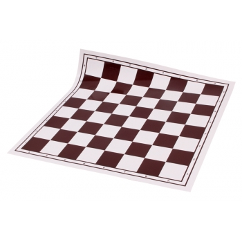 Vinyl roll-up chess board, white/brown