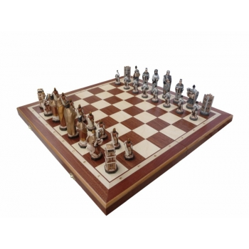 ENGLAND (pieces painted stone, intarsia, , insert tray, wooden chess case)