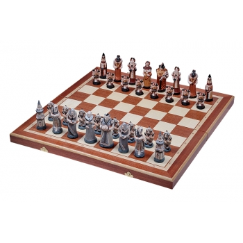 FANTASY (pieces painted stone, intarsia, , insert tray, wooden chess case)