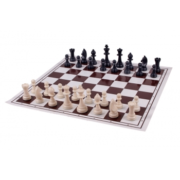 Plastic chess + Mill board, foldable, white/brown
