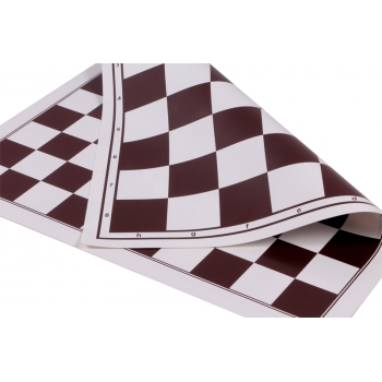 Vinyl roll-up chess board + 100 fields checkers (double sd, white/brown)